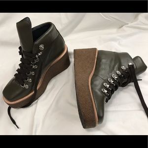 Olive Green Leather Viajar Platform Combat Boots 7